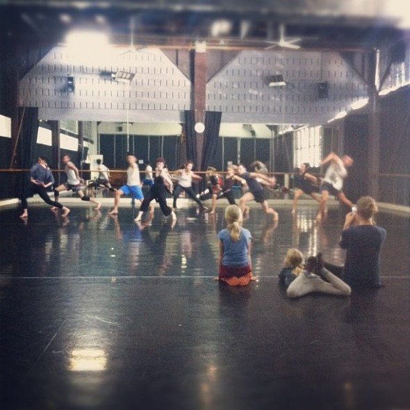 Stephanie and daughters in rehearsal with Sydney Dance Company